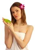 Mädchen mit einem Seifenstab. Getrennt auf Weiß Lizenzfreies Stockbild