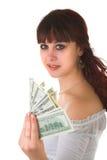 Mädchen mit Geld Stockbild