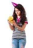 Mädchen mit Geschenkbox Lizenzfreies Stockbild
