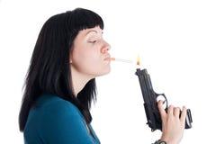 Mädchen mit Gewehr-hellerem Stockbild