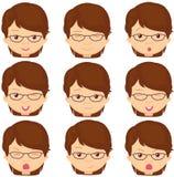 Mädchen mit Glasgefühlen: Freude, Überraschung, Furcht, Traurigkeit, Sorge Lizenzfreies Stockfoto