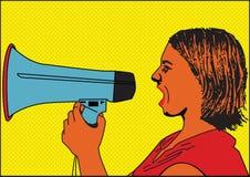 Mädchen mit Lautsprecher Lizenzfreie Stockfotografie