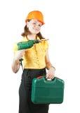 Mädchen mit Werkzeugkasten und Bohrgerät Stockfotos