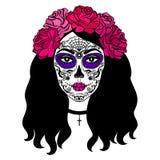 Mädchen mit Zuckerschädelmake-up Mexikanischer Tag der Toten Stockbilder