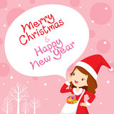 Mädchen in Santa Costume Shouting, rosa Hintergrund Stockbild