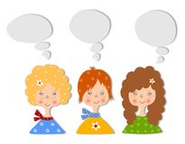 Mädchen. Set Zeichentrickfilm-Figuren Stockfoto