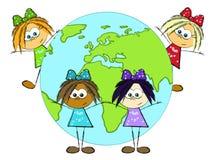Mädchen und Erde Lizenzfreie Stockfotografie