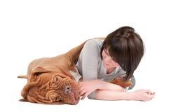 Mädchen und ihr Hund Stockfotos