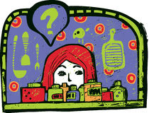 Mädchen und Küche Lizenzfreies Stockfoto