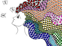 Mädchen und Schmetterlinge Stockfotos