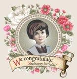 Mädchen, Verlust Porträt Frau Einladungsrahmenblumen Weinlese-Karten-Blumen Pfingstrosenkamillen-Vektor Illustration Lizenzfreies Stockbild