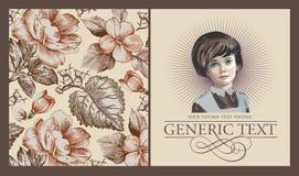 Mädchen, Verlust Porträt Frau Einladungsrahmenherbst Weinlese-Karten-Blumen Pfingstrosenkamillen-Vektor Illustration Lizenzfreie Stockfotos