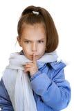 Mädchen-Vorschüler in der blauen Jacke Stockfotografie