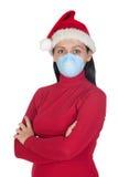 Mädchen am Weihnachten mit Schablone Lizenzfreie Stockfotos