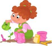 Mädchen, welches die Gartenarbeit tut Stockfotos