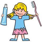 Mädchen, Zahnpasta und Zahnbürste Lizenzfreies Stockbild