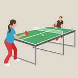 Mädchenathletenspielsportspielkarikatur-Zeichnungsillustration Tischtennis-Klingeln pong Frau weibliche Stockfotografie
