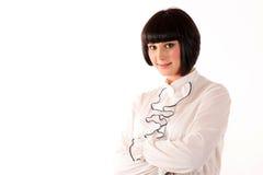 Mädchenbüropersonal lokalisiert auf weißem Hintergrund, sehr sauberes Bild mit Kopienraum Stockfotos