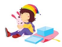Mädchenöffnungsgeschenk Lizenzfreie Stockbilder
