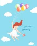 Mädchenfliegen mit Ballons und Vogelkonzeptillustration Stockfotos