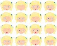 Mädchengefühle: Freude, Überraschung, Furcht, Traurigkeit, Sorge, schreiend, lau Lizenzfreie Stockfotos