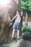 Mädchenkind draußen klettern Baum mit Schmetterlingsgesichtsmalerei Stockfoto