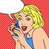 Mädchentelefongesprächsfreude Pop-Arten-Weinlese komisch Lizenzfreie Stockbilder