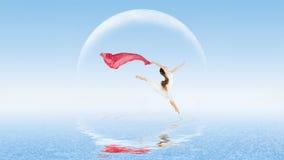 Mädchentänzer auf Wasseroberfläche Stockfotografie