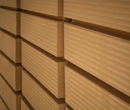 MDF boards are stacked in a warehouse. stock image