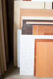 MDF, PARTICLE BOARD. Wood panels of different thicknesses and colors. Stock Photos