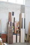 MDF, PARTICLE BOARD. Wood panels of different thicknesses and colors. Stock Photo