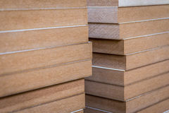 Mdf wood boards. Stacked mdf wood boards in the carpentry Royalty Free Stock Photography
