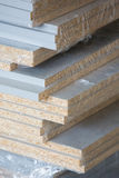 Mdf wood boards. Stacked mdf wood boards in the carpentry Royalty Free Stock Photos