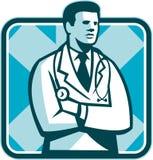 Médico médico Stethoscope Standing Retro Imagens de Stock