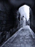 Mdina被修补的街道  图库摄影