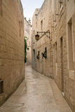 Mdina. Alley in the old downtown of Mdina, Malta Stock Images