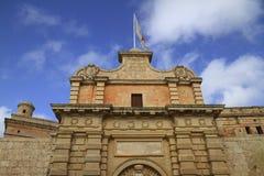 Главный вход Mdina, Мальты Стоковая Фотография