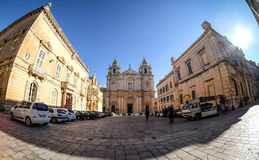 Mdina also known as Medina - Malta. Old town center panoramic vi. Ew at sunset Stock Images