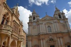 Mdina Cathederal Malta Stock Afbeelding