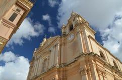Mdina Cathederal Malta Arkivbilder