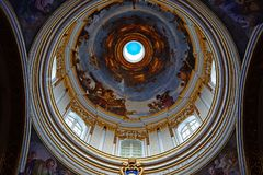 Mdina Cathedral dome ceiling, Malta. Royalty Free Stock Photography