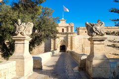 Mdina city gate. Old fortress. Malta. Europe Stock Photography