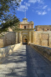 Mdina city gates, Malta. Entrance to Mdina city. It is a fortified city in the Northern Region of Malta, which served as the island's capital from antiquity to Stock Image