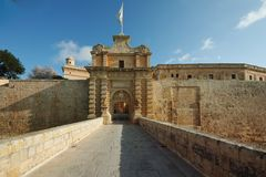 Mdina city gates. Old fortress Malta Stock Image