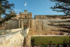 Mdina city gates. Old fortress Malta Stock Photo