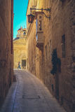 Mdina city streets - Malta. Famous narrow streets in the old cit. Adel at sunset Stock Photography