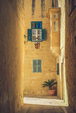 Mdina city streets - Malta. Famous narrow streets in the old cit Royalty Free Stock Images