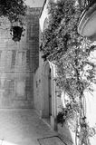 Mdina courtyard, black and white Stock Photo