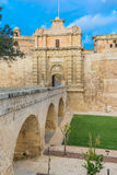Mdina entrence gate, in Malta. The medieval gateway to the silent city of Mdina in Malta Royalty Free Stock Image