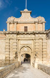 Mdina entrence gate, in Malta. The medieval gateway to the silent city of Mdina in Malta Royalty Free Stock Photo